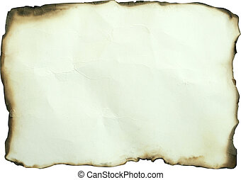 old yellow burned paper on white background,