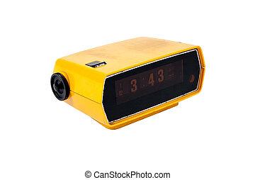 Old yellow digital clock