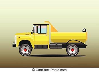 old yellow dump truck