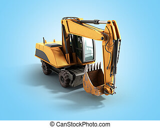 Old yellow excavator 3d ewrnder on blue background