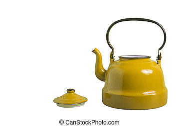 Old yellow kettle without lid isolated