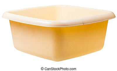 old yellow plastic rectangular wash basin isolated on white background