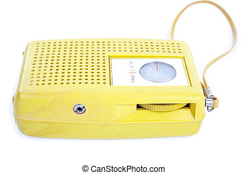 Old Yellow Plastic Transistor Radio Isolated White