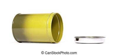 Old yellow tin can, isolated on white