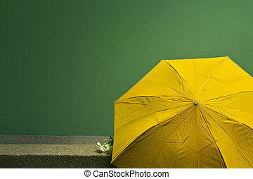Old yellow umbrella on the green cement wall background. Concept