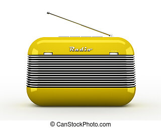 Old yellow vintage retro style radio receiver isolated on ...