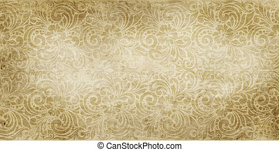 Old yellowed paper background with vintage patterns. - ...