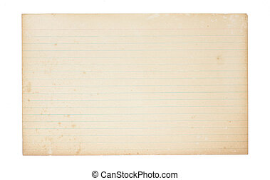 Old, Yellowing Index Card - An old, yellowing, lined index ...