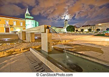 Old Zadar forum fountain night view, Dalmatia, Croatia