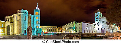Old Zadar square panoramic night view