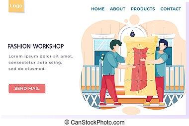 oldal, mód, model., rajzoló, varrónő, sablon, gyártás, motívum, leszállás, műhely, tanácskozik, látszó