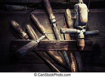 Oldand Rusty Wood Hardware - Wood Toolset