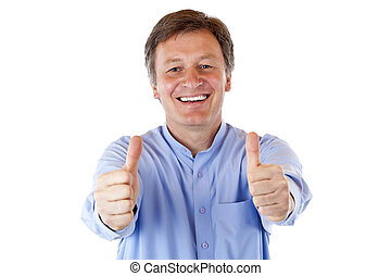 Older, aged, Senior smiles happy and shows both thumbs up