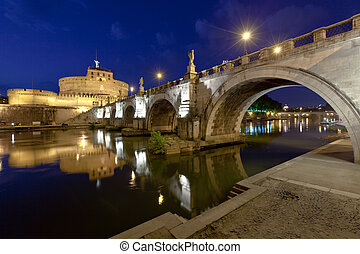 Older Bridge and Castle Sant Angelo in Rome - Evening view...