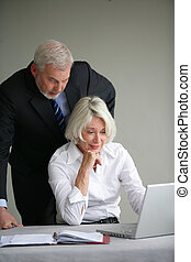 Older business couple looking at a laptop