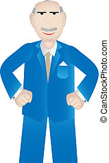 Older business man with positive attitude - vector -...