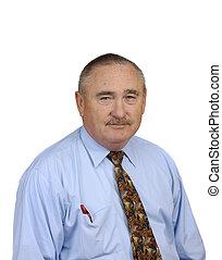 older businessman isolated on white