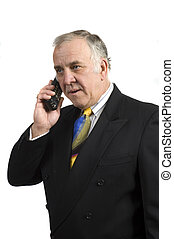older businessman on phone