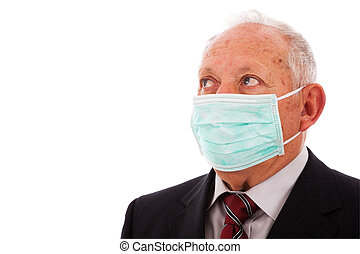 Older businessman with a mask