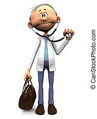 Older cartoon doctor holding stethoscope. - An older...