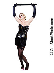 Older Caucasian Woman Black Corset Holding Baton Over Head