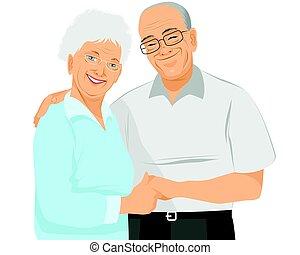 Older couple hugs