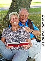 older elderly couple in love.