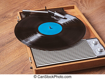 Gramophone with a vinyl record