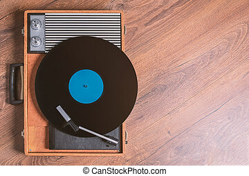 Older Gramophone with a vinyl record