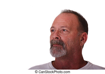 Older Guy with Grey Beard and Mustache Looking Up and Right
