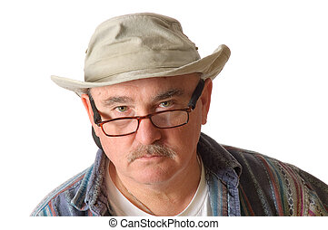 older man in a hat