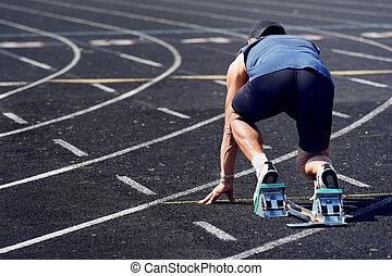 Older man in a race
