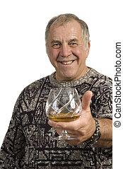 older man offering a scotch