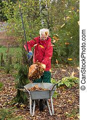 Older man working in the garden