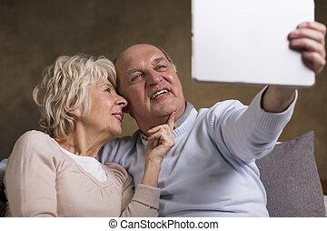 Older people and selfie photo