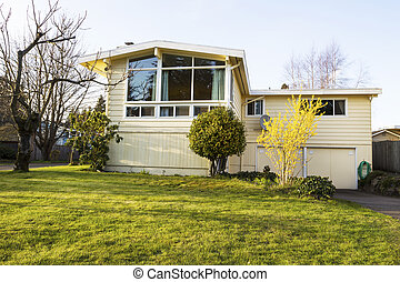 Older Single Family Home in Early Spring Season