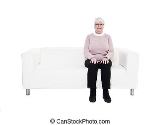 Older woman in a sofa