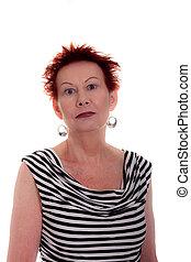 Older Woman in Wild Red Hair in Striped Dress on White