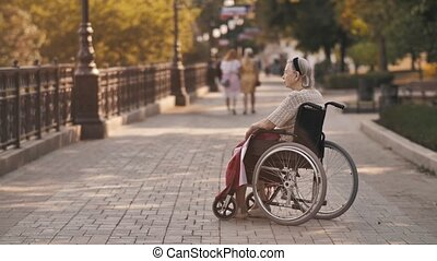 Pensive disabled senior grandma sit on wheelchair alone at home and look through window