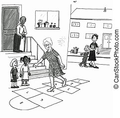 Older woman skips playing hopscotch with kids