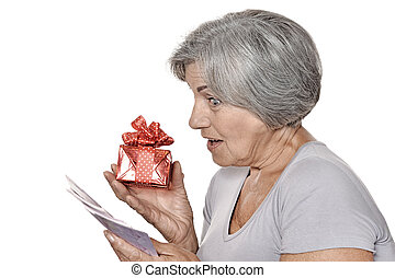 Older woman with a gift and money