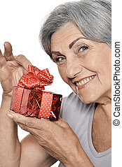 Older woman with a gift