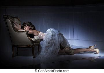 oldfashion, sexy, strój, kobieta, chodząc