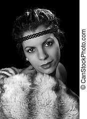 Oldies movie star with fur - Glamour style vintage 1920 ...