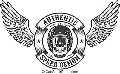 oldschool, emblema, casco, ali, cranio, da corsa