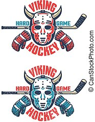 Oldschool hockey emblem - retro goalie mask with horns, stick, gloves and an inscription Viking Hockey