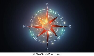 oldstyle wind rose compass video animation