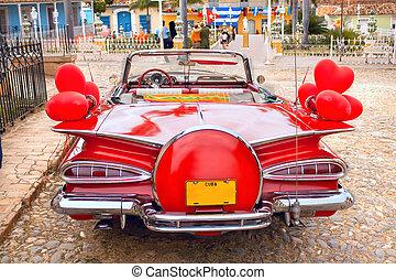 oldtimer, costas, carro vermelho