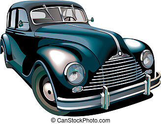 Oldtimer - Detailed vectorial image of black old-fashioned...