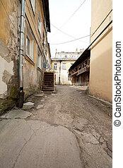 Aged european old town courtyard